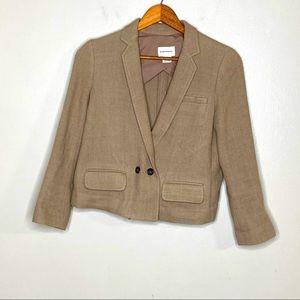 Club Monaco Neutral Wool Blend Crop Blazer
